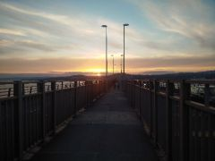 Sonnenuntergang über der Tay Road Bridge